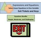 "$ This exit ticket/mini quiz bundle is a great formative assessment tool. They are also fantastic review station activities, bell work, or ""do now"" activities! The 8 mini quizzes focus on common core standard 8.EE.7, solving equations in one variable. All my 8.EE.7 exit tickets are combined into this bundle (simple, moderate, challenging.)"