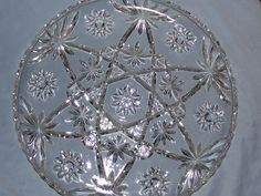 Antique Pressed Glass Star of David Serving Plate