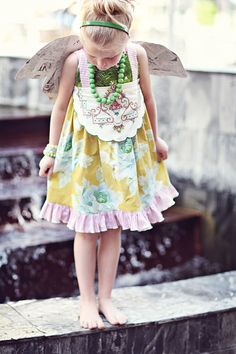 Grassland sun dress for girls with OOAK vintage trim by TheMeasure. $64.00 USD, via Etsy. so cute!!!