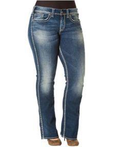 Silver Jeans Plus Size Jeans, Frances Straight Leg Medium Wash - Plus Size Jeans - Plus Sizes - Macy's