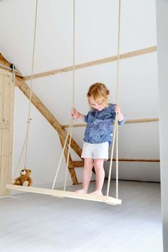 double swing in the room, love this. #kids #decor