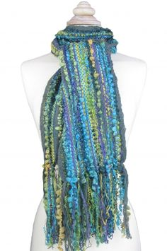 Teal Mix - New! extra long scarf woven with silky ribbon