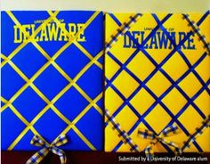 UD alum Kayla Carrigan created these ribbon boards using craft store plywood, quilt batting, Delaware t-shirts, a staple gun and ribbons. So cute and simple!