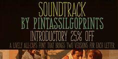 handdrawn-ish type.  Soundtrack. Myfonts.com