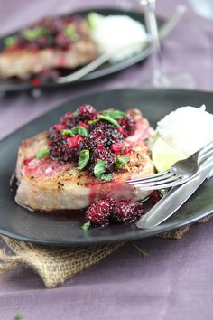 Pork Chops with Blackberry Sweet & Sour Sauce