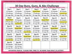30 DAY BUNS, GUNS & ABS FITNESS CHALLENGE