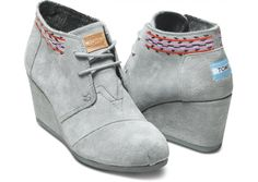 TOMS Grey Embroidered Desert Wedges