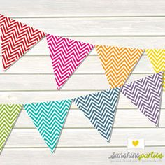 Chevron Printable Bunting Set in Bakers Twine Colours- 10 piece set - Large Bunting for Parties. $6.00, via Etsy.
