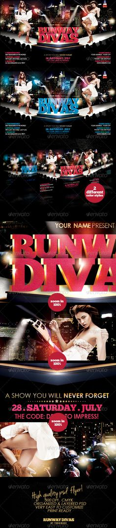 Runway Divas Flyer Template / $6. ***This flyer is perfect for the promotion of Fashion Events, Club Parties, Musicals, Festivals, Shops/Boutiques, New Collections, Concerts or Whatever You Want!.***