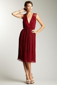 fashion, red, adam pleat, long deep, pleat long, dresses, deep vneck, vneck dress