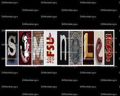 Florida State Seminoles Framed Alphabet Photo Art Print