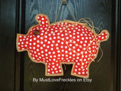 "Arkansas Razorback ""Piggy"" Polka Dot Fabric & Burlap Door Hanger on Etsy, $26.00"