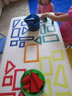 Exploring shapes on the table by Teach Preschool. I plan to do this on a baking sheet or tray so that is portable. preschool table top activities, shapes activities preschool, preschool shapes, teaching shapes preschool, teaching preschool, explor shape, beginning of preschool year, teach preschoolers, preschool learning