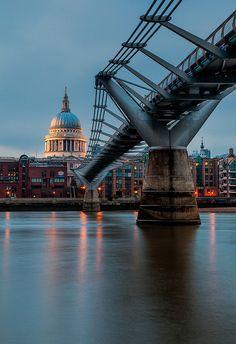 The Millennium Bridge crosses the River Thames, Saint Paul's Cathedral, London