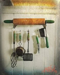 i love this idea hanging in a kitchen.