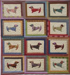 Hot Diggity Dog quilt pattern (dachsunds) by Lavendar Rabbit