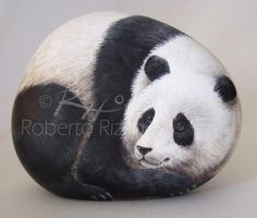 Roberto Rizzo Panda painted rock