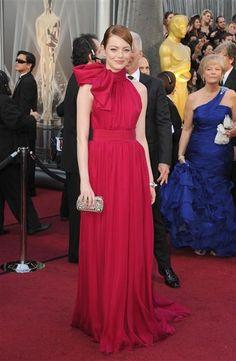 fashion, emma stone, oscar dresses, celebrity dresses, red carpet, the dress, chiffon gown, 2012 oscar, oscar 2012
