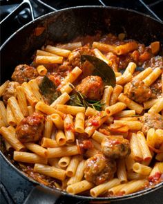 I love meals that allow you to make a double batch and freeze one batch for a quick future dinner, like this rigatoni with meatballs.