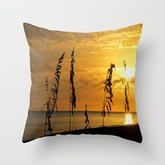 Golden Sea Oats Throw Pillow by Rosie Brown - $20.00 #pillow #throwpillow #photography #sunset #homedecor #beach #seascape #seaoats #tropical #nature #florida