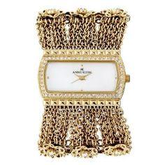 Anne Klein Women's 109236MPGB Swarovski Crystal Accented Gold-Tone Chain Bracelet Watch--->  http://amzn.to/1dVKadX