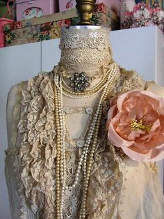 Vintage Dress Form all done up in her Lace and Pearls!