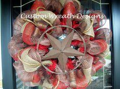 Texas Star Western Mesh Wreath