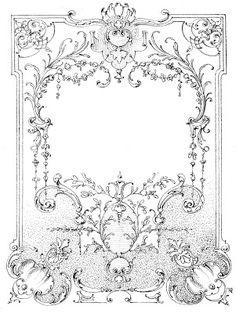 Free vintage Illustration - Ornate Labels or Frames (antique & black and white versions).