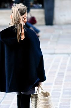 cape, high pony tail and scarf