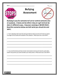 Bullying Assessment - Meets National Health Education Standards