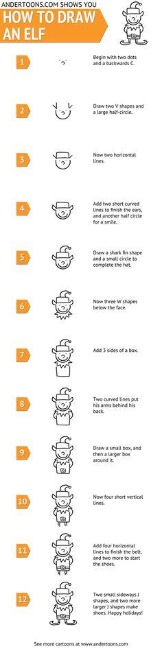 How to draw a cartoon Christmas elf