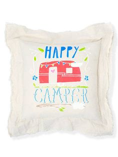 "Get the Look: Junk Gypsies ""happy Camper Pillow"" handmade in round top .  . from COUNTRY LIVING MAGAZINE @countryliving"