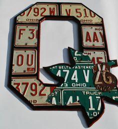 Block O Folk Fan Art License Plate Art Wall Hanging Ohio State