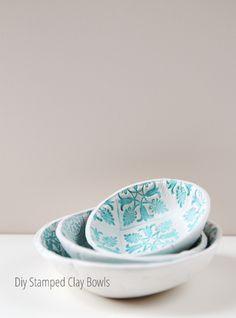Diy Stamped Clay Bowls made using air dry clay