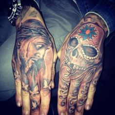Jesus and a Skull    Done by Iain Stanfield    http://l0vedoesntlivehere.tumblr.com/