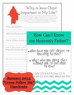 Little LDS Ideas: {Come Follow Me} January 2014 'Come Follow Me' Handouts