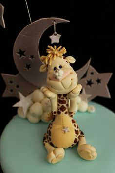 cake, gum paste, giraffes