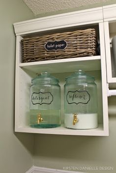 Drink dispenser for detergent. Seems a bit over the top, but if the laundry room is in a visible place (like off the kitchen),  this would be a great way to keep it looking classy!