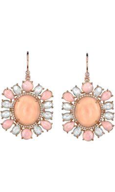 Irene Neuwirth Peach Moonstone, Pink Opal, Diamond & Rainbow Moonstone Earrings