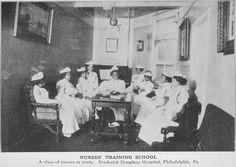 Nurses' Training School; A class of nurses at study; Frederick Douglass Hospital, Philadelphia, Pa - ID: 1211857 - NYPL Digital Gallery