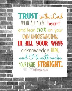 Trust in the Lord // Proverbs 3:5-6 // Gender Neutral Brights // INSTANT DOWNLOAD // Scripture Print // Wall Art $5