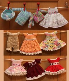 Crocheted Doll Clothes... super cute. But I don't have a girl.