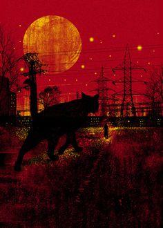 - Elias Fahardo fajardo, halloween night, shades of red, black cats, dan elijah, art prints, dark, cleo, illustr