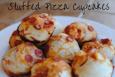 Stuffed Pizza Cupcakes. SO amazingly yummy! Everyone will be bound to love these. Come on, pizza dough filled with sauce, pepperoni, and cheese? I think so!