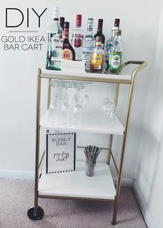 DIY Bar Cart--An Ikea Hack. This project cost less than $40 to create! #diy #barcart #ikeahack