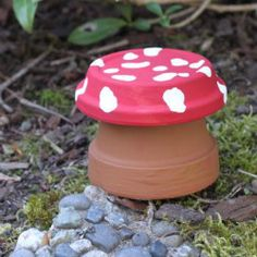 Turn a plain terra cotta flowerpot into a sweet little garden toadstool!