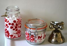 Fabric wrapped recycled bath jars