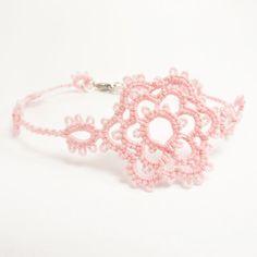 Delicate light pink bracelet  floral lace bracelet