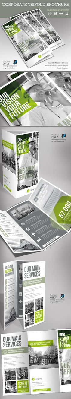 Corporate Tri-fold Brochure. I like the icons on the left and then the text left aligned next to it