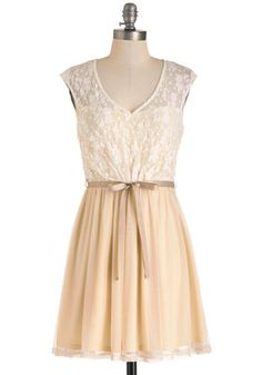 White Haute Cocoa Dress - Cream, Tan / Cream, Lace, White, Belted, A-line, Cap Sleeves, V Neck, Cutout, Wedding, Party, Fairytale, Short, Gr...